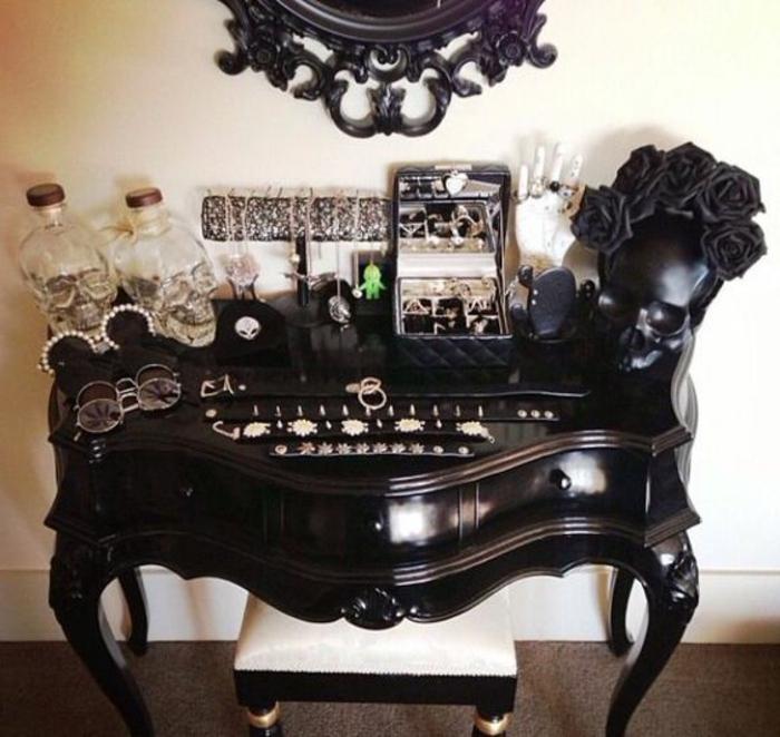 Retro Deko in schwarzer Farbe - Schädel aus Glas, eine Schachtel mit Spiegel Ständer für die Schmuckstücke