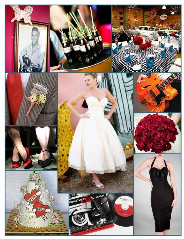 alle Elemente einer 50er Party zur Hochzeit - Getränke, Tischdeko und Kleidung