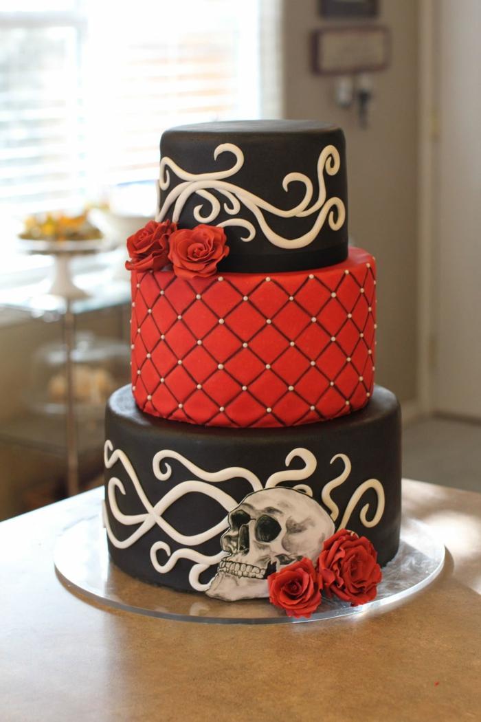 stilvolle Torte in schwarzer und roter Farbe, rote Rose Dekoration 50er Party