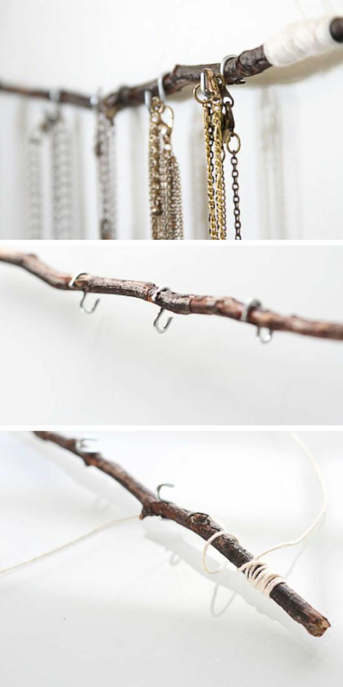 schmuckständer selber machen, ast, weißer faden, goldene und silberne halsketten
