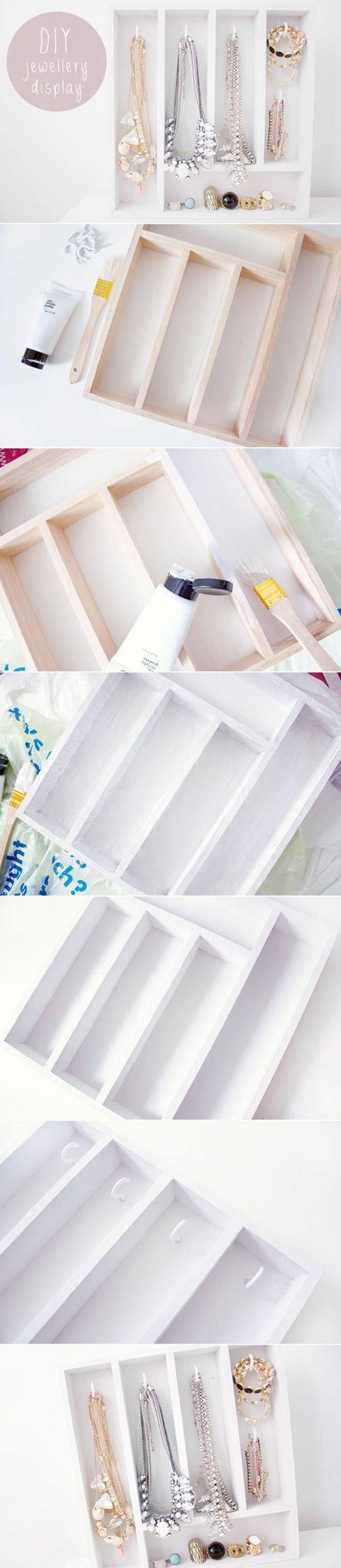 schmuckaufbewahrung selber machen aus holz, weiße farbe, schmuck