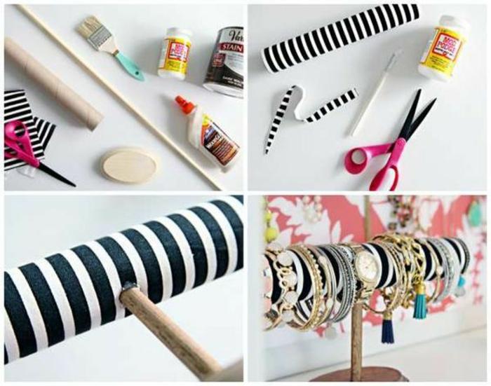 schmuckständer selber machen aus küchenpapierrolle, farbpinsel, klebstoff, schere