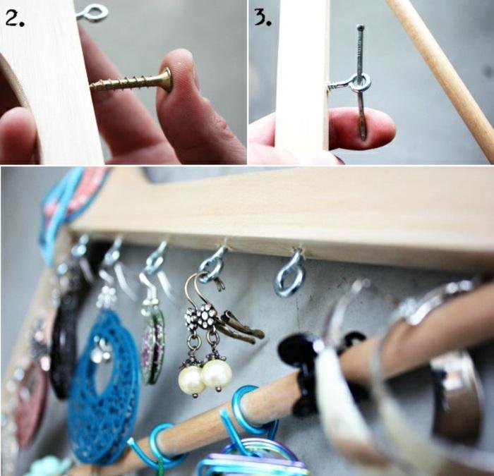 schmuckständer selber machen, ohrringe, kleiderhaken, hakenschrauben