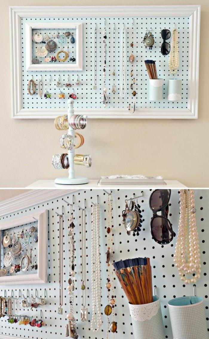 weißer armbandständer, schmuckständer aus holz, rahmen, schmuck, sonnenbrille