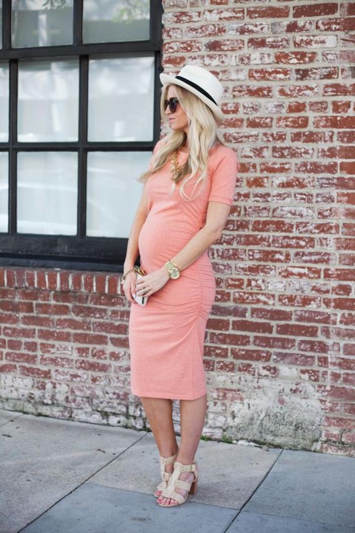 schwangerschaftsmode, umstandskleid, lang, mit kurzen aermeln