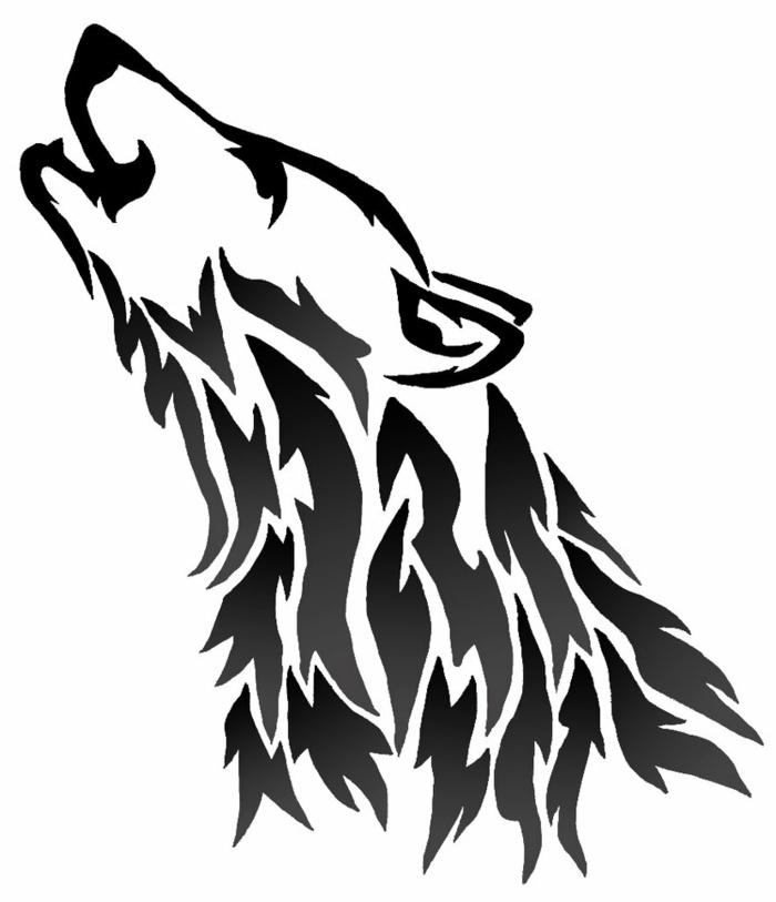 der eulnde schwsrze wolf - wolf tribal - eine idee für wolf tattoo