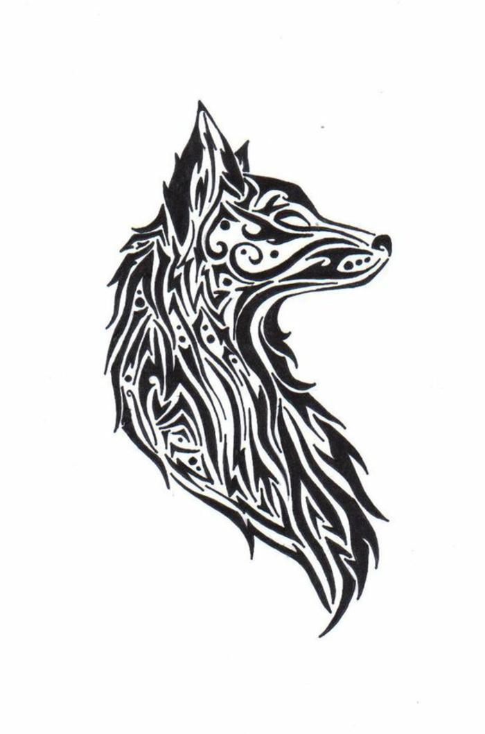 wolf tribal - ein schöner und märchenhafter wolf - moch ein beispiel für einen wolf tattoo