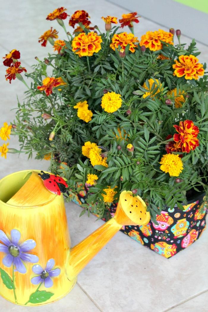 basteln mit blumentöpfen gießkanne in gelber farbe dekoriert mit lila blumen pflanze verkleiden in stoff und gießen