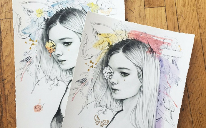 Kunst und Prints verkaufen - zwei Bilder von einem blonden Mädchen, gedruckt in verschiedenen Farben