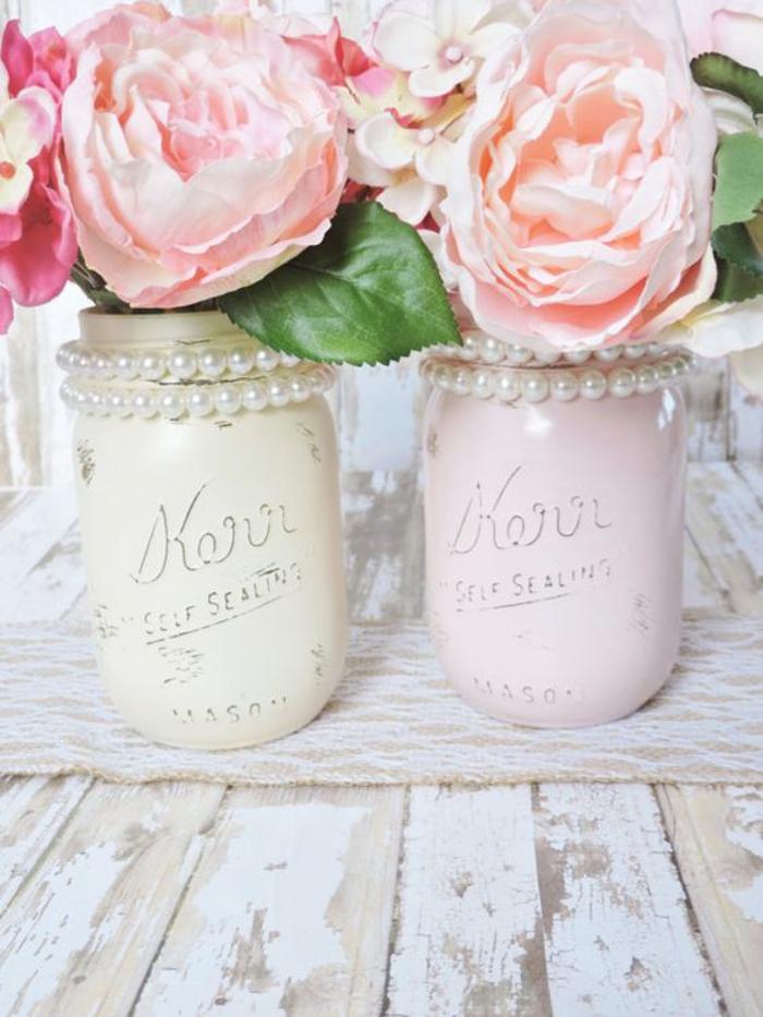 shabby chic deko, vasen n pastellfarben mit perlen, rosen