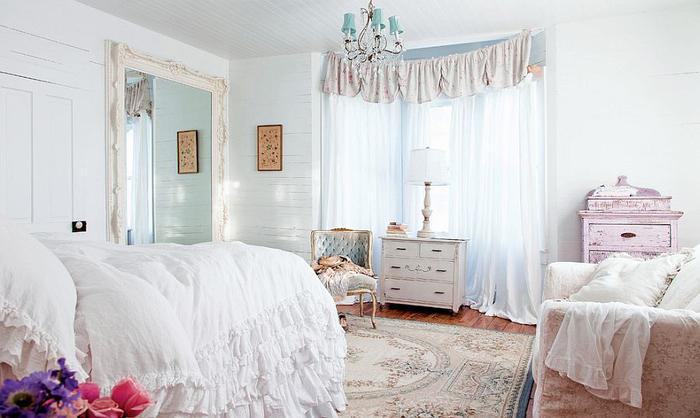 shabby chic schlafzimmer in weiss und rosa,holzmoebel