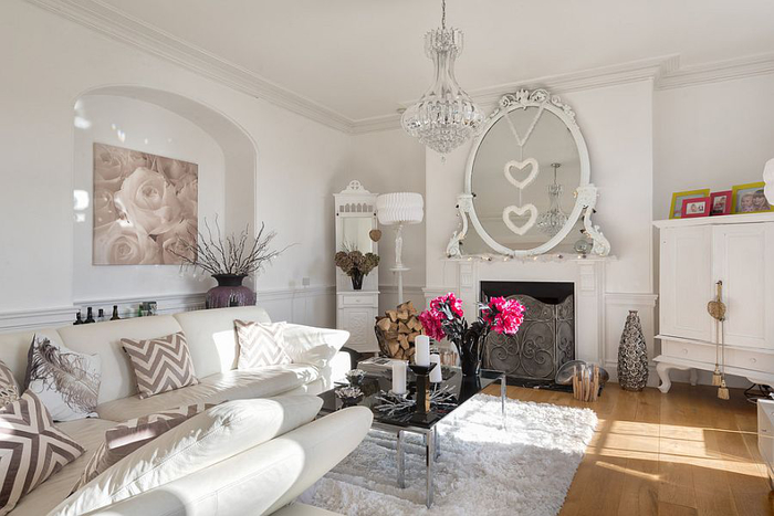 shabby chic wohnzimmer in pastellfarben, dekoelemente