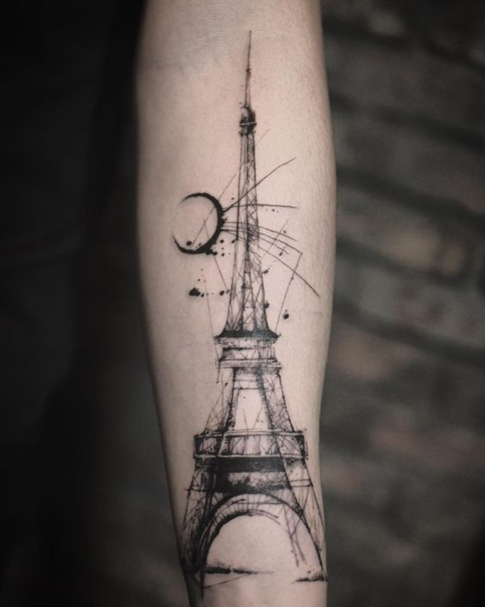 tattoo am bein, eiffelturm, tattoo ideen, tattoo an der wade