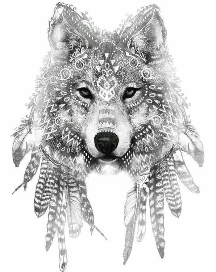 noch ein märchengafter wolf mit vogelfedern - eine tolle idee für einen tattoo wolf