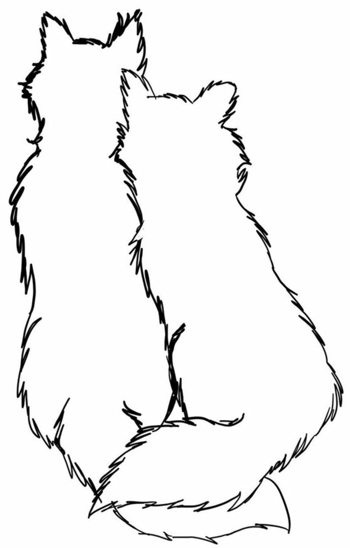 wolf tribal - idee für wand tattoo - hier sind zwei sich umarmende weiße wölfe