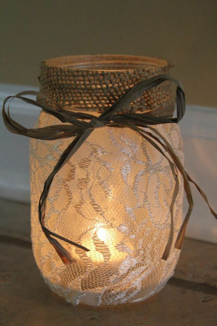 einmachglas mit spitze dekorieren, schleife, juteband