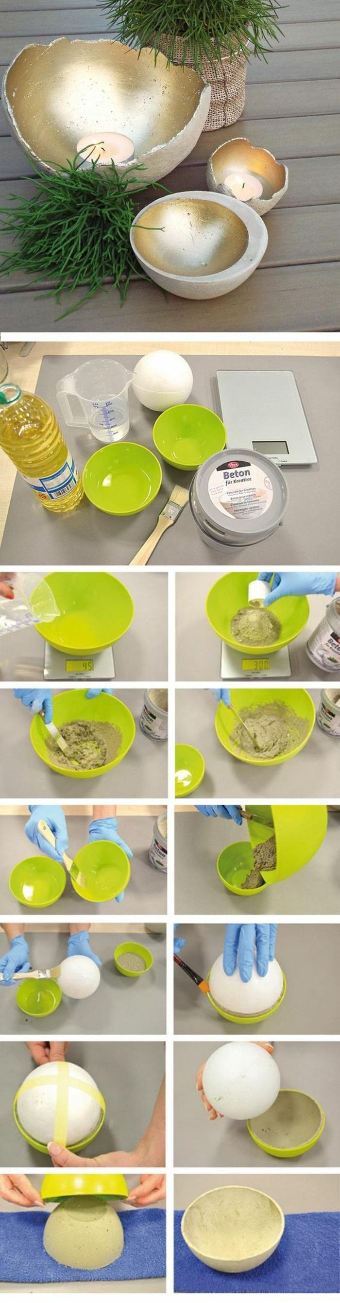 grüne schale, gartendeko, schalen aus beton gefärbt mit goldenem spray
