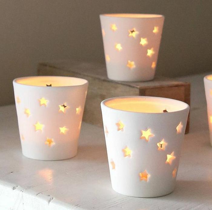teelicht, weiße teelichter mit sternen, tischdeko diy
