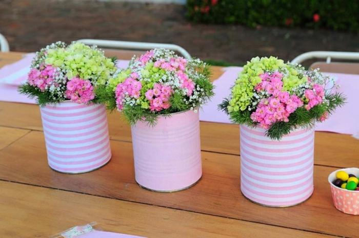 mini blumentöpfe mini dosen töpfe deko ideen für das zuhause einfach schön und lustig rosa blumen in rosa topf