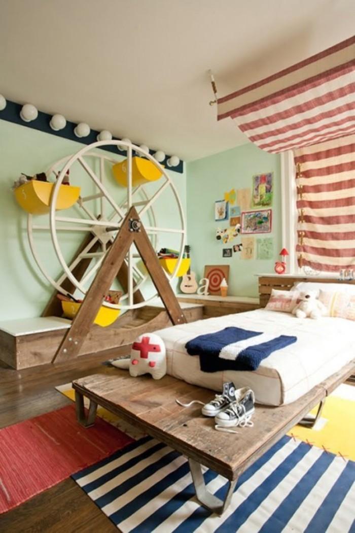 baby kinderzimmer in cooler gestaltung, lustiges design mit riesenrad und spielzeuge