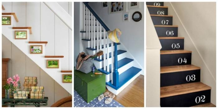 Bilder für Treppenhaus die Frühling und Sommer darstellen und nummerierte Treppen