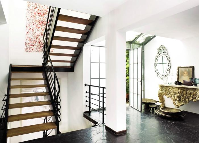 zwei Treppen mit einem Tropfen Bild in roter Farbe dazwischen Treppenaufgang gestalten