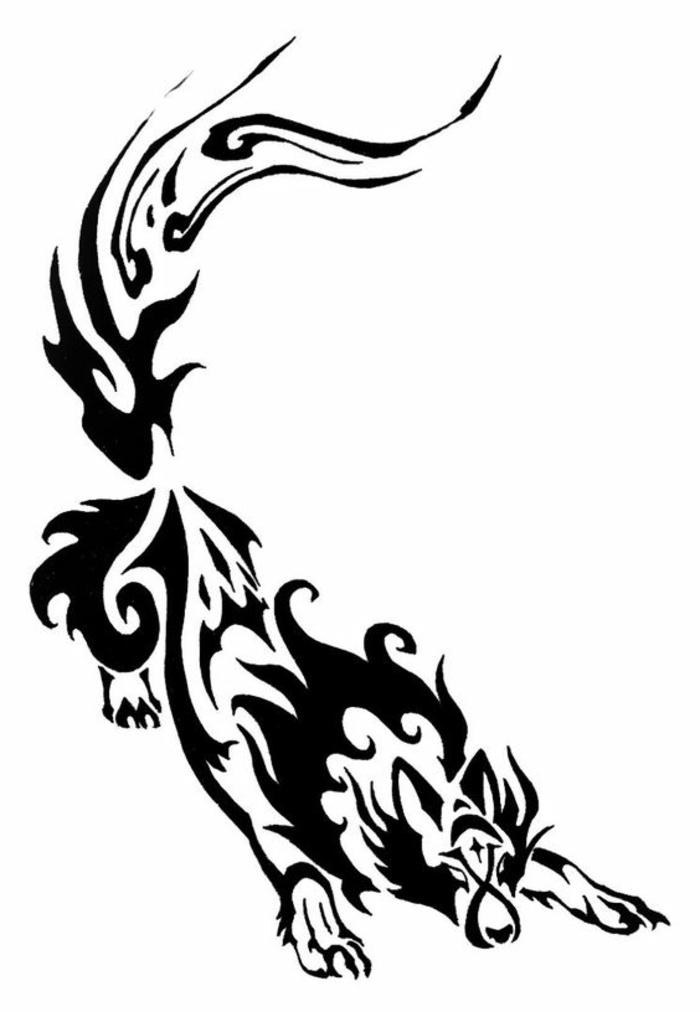 tattoo mit einem schwarzen wolf - idee für tribal wolf