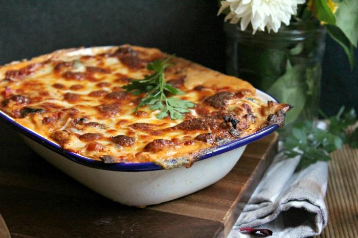 einfache vegetarische gerichte hausgemachte lasagne ohne fleisch in einem topf kochen backform blume