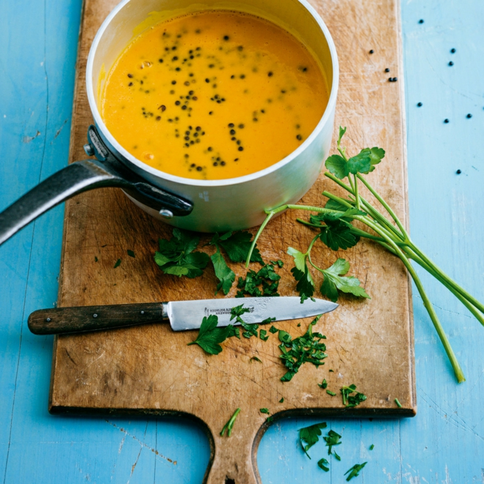 vegetarisch kochen kürbis suppe idee zum gestalten suppe mit chia samen und sesam schwarz petersilie