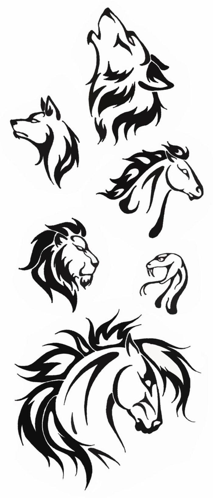 hier zeigen wir ihnen verschiedene ideen für schwarze tattoos - wölfe, löwe, zwei pferde, und eine schlange