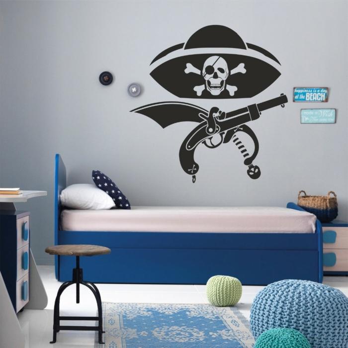 alle Elemente von einem Pirat als Wandtattoo - Wanddeko Kinderzimmer, blaues Bett