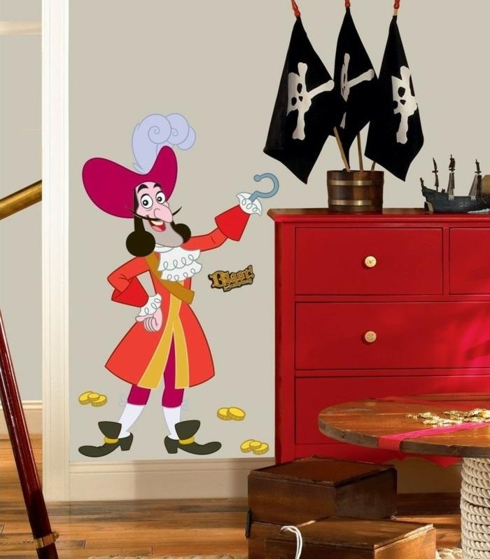 Wandtattoo von einem Pirat und drei Totehkopf Fahnen Wanddeko Kinderzimmer