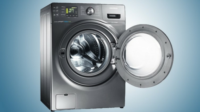graue waschmaschine von siemens bosch ideen waschen wäsche ideen blauer hintergrund