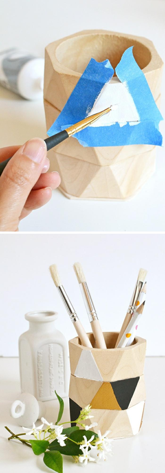 stifthalter aus holz selber machen und dekorieren, klebeband, farbe, pinsel