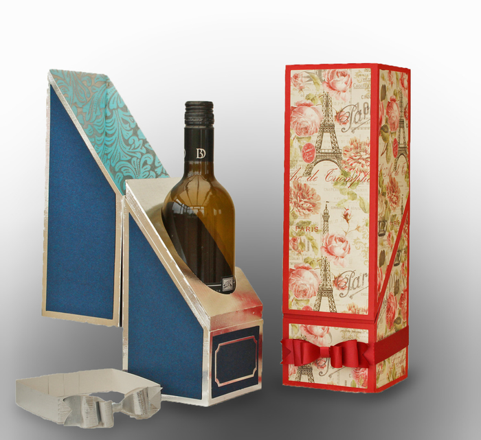 weinflaschen verpacken, wein in papierschachtel mit paris-motiven, geschenk