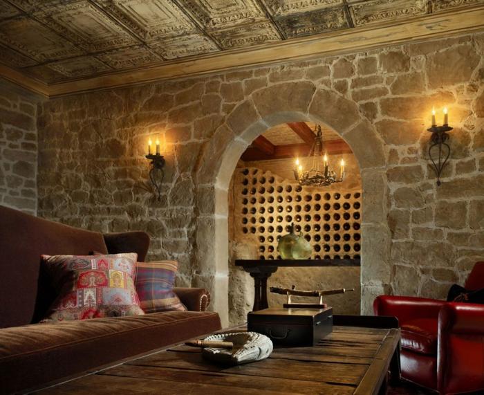 weinregal holz selber bauen ganze wand für weinregal verwenden finca stil mediteranien spanischer stil
