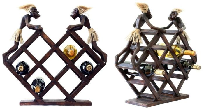 weinregal holz selber bauen elegantes design für sieben flaschen mit dekortiven figuren männchen