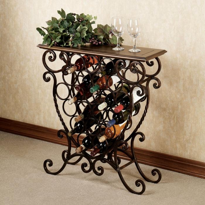weinregal aus metal selber machen schönes kunstwerk lagert die volle weinflaschen und dekoriert das haus