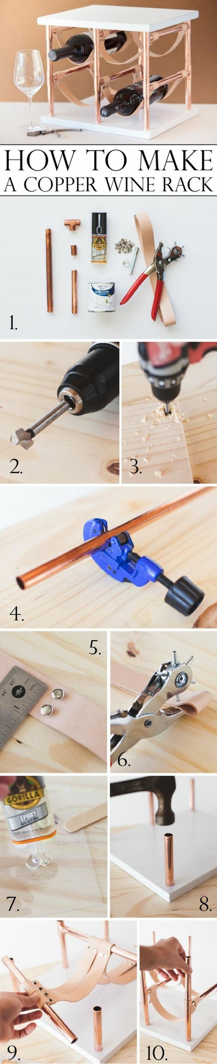 wein ständer selber machen gestaltungsideen bohrmaschine nägel nötige-materialien zehn schritte