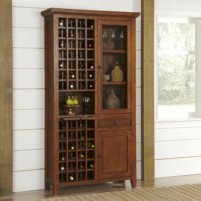 weinregal wand großer schrank für alle flaschen wein dekoration schubladen gläser roter wein birne