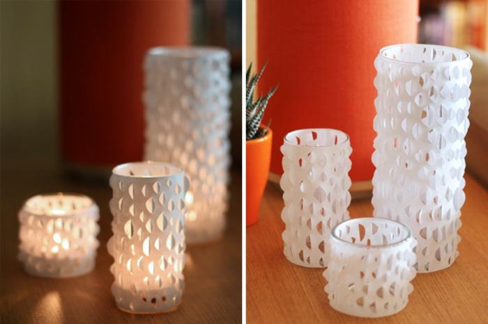 windlichter basteln, gläser mit weißem papier verschönern