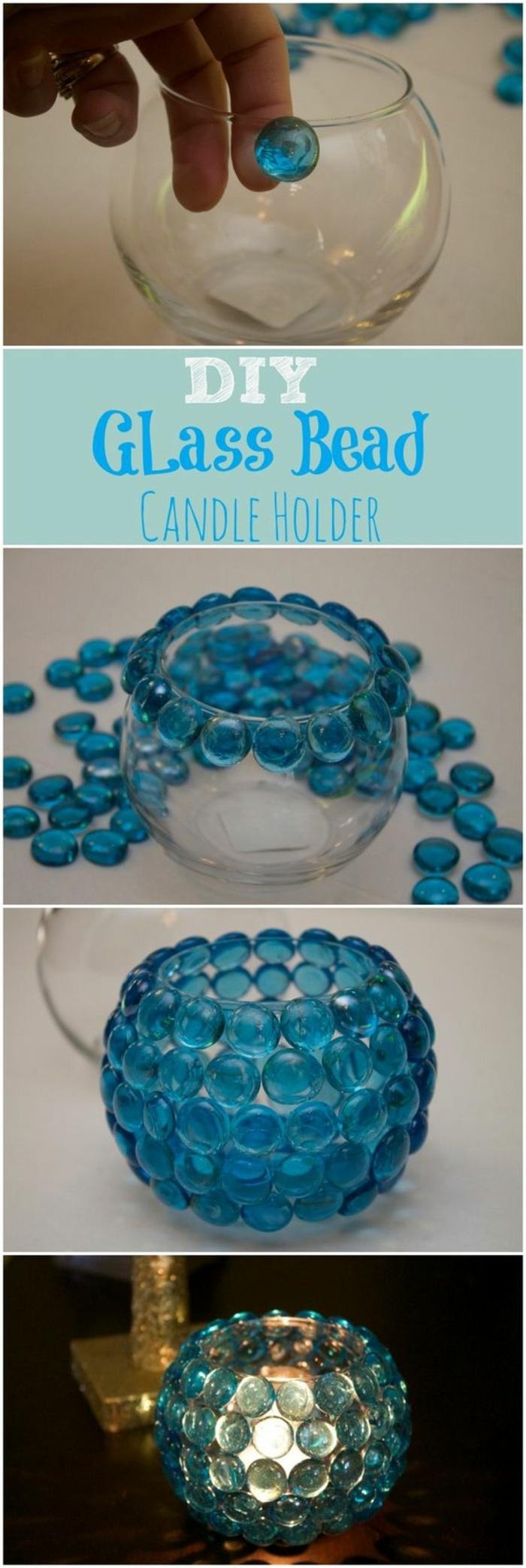 runde glasvase mit blauem strasssteinchen dekorieren