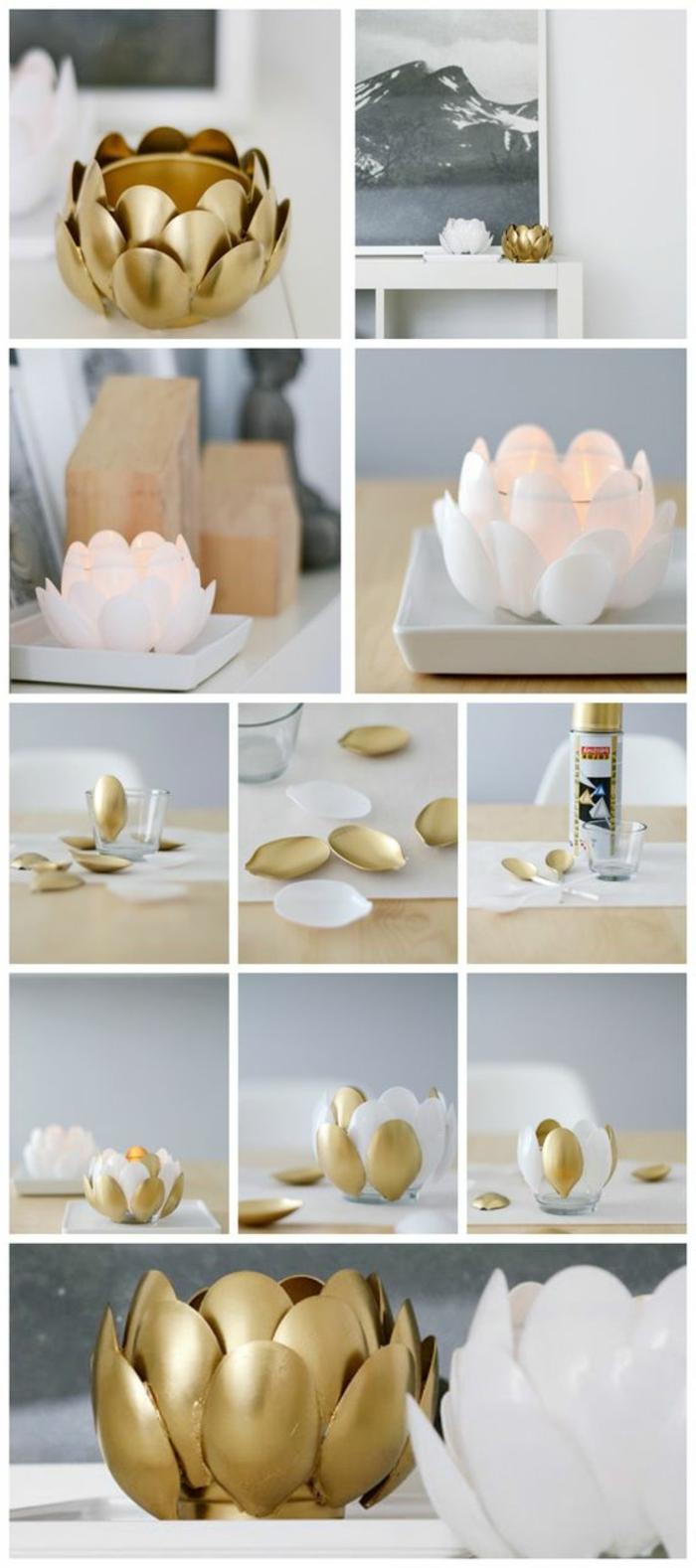 weiße plastiklöffel mit gloldenem spray besprühen, diy deko