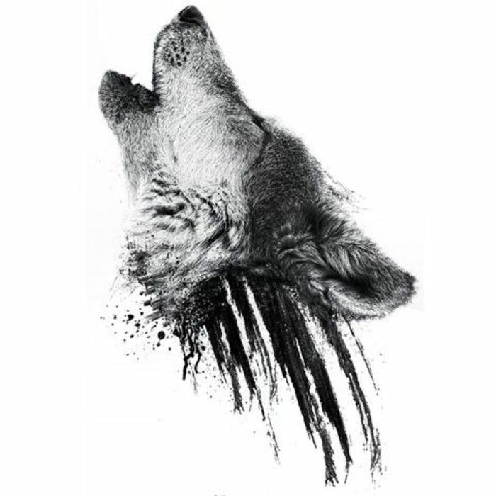hier ist ein schöner wolf, der heult - idee für einen schwarzen wolf tatoo