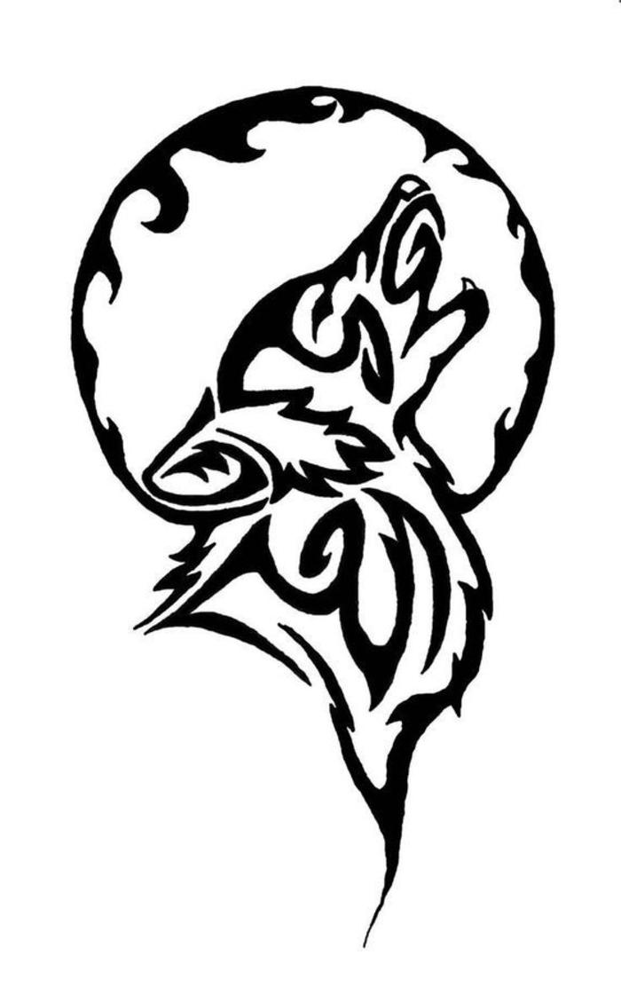 hier ist noch ein tattoo mit einem wolf, der auf mond heult