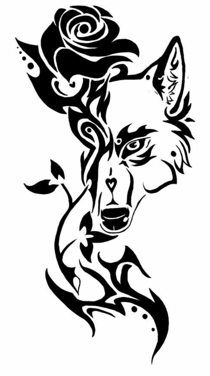 hier ist eine schwarze rose und ein schwarzer wolf - idee für einen wolf tattoo