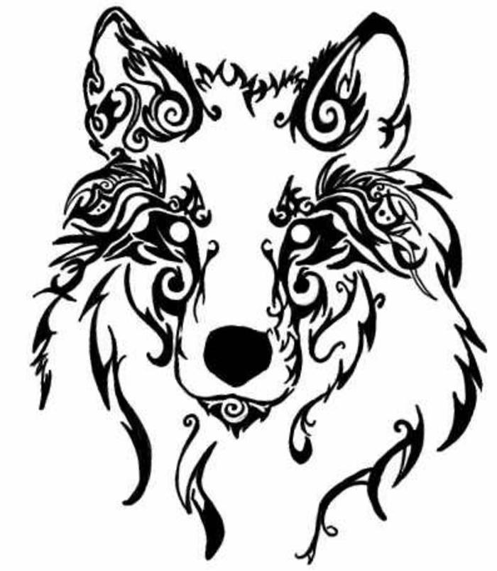 wolf kopf, wolf tribal - diese idee für einen wolf tribal wird den frauen sehr gut gefallen