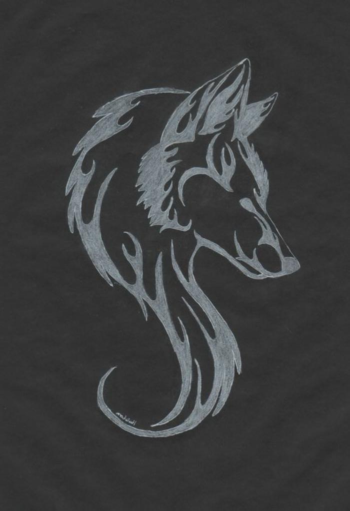 ein grauer wolf - wolf tribal - noch eine wirklich tolle idee für einen wolf tatto, die ihnen sehr gut gefallen kann