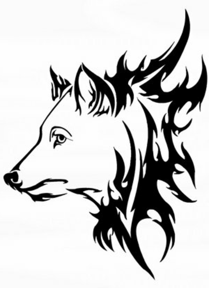 ein weißer wolf - wolf kopf - tribla wolf - idee für einen tollen tattoo wolf