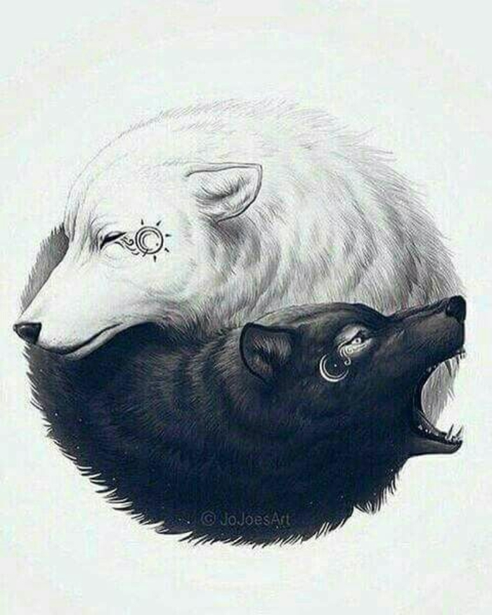 ein weißer und ein schwarzer wolf, die sich umarmen - noch eine idee für einen tollen wolf tattoo